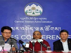 Secretaries of DIIR Mr Tashi Phuntsok and Mr Sonam Norbu Dagpo with Secretary of Kashag Mr Ven Karma Gelek Yuthok