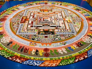 the complete Kalachakra Sand Mandala constructed for the 33rd Kalachakra Empowerment in Leh  July 8 Photo by Manuel Bauer