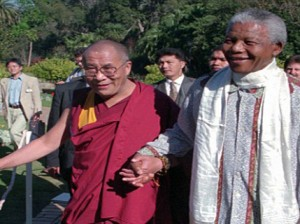 The Dalai Lama with Nelson Mandela in Cape Town in 1996 Photo: dailymail