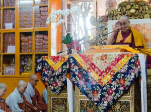 His Holiness during the teaching in Dharamshala Photo: Tenzin Choejor/OHHDL