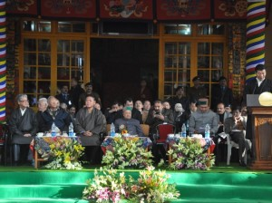 Shri Virbhadra Singh, Chief Minister of Himachal Pradesh (centre) at the celebration. Sikyong Dr Lobsang Sangay delivers the Kashag's statement Photo: tibet.net
