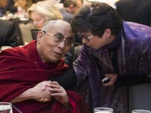 Valerie Jarrett, senior adviser to President Barack Obama talks with the Dalai Lama during the National Prayer Breakfast in Washington, Thursday, Feb. 5, 2015 Photo: AP/Evan Vucci