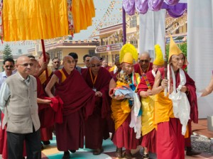 His Holiness the Dalai Lama arriving at Gyuto Tantric College in Sidbhari. Photo: OHHDL/Tenzin Choejor