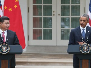 President Obama and Chinese President Xi Jinping hold a joint press conference in the Rose Garden at The White House on Frida