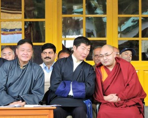 Sikyong Dr Lobsang Sangay with Penpa Tsering and Rinpoche at IHRD (Copy)