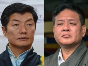 Two candidates for the Sikyong 2016: incumbent Sikyong Lobsang Sangay (right) and Speaker of the Tibetan Parliament-in-exile Penpa Tsering.