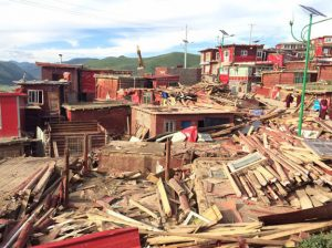 Destroyed site at Larung Gar Photo: RFA