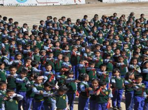 TCV children performing a group song on their 56th anniversary  Photo: Tibet.net