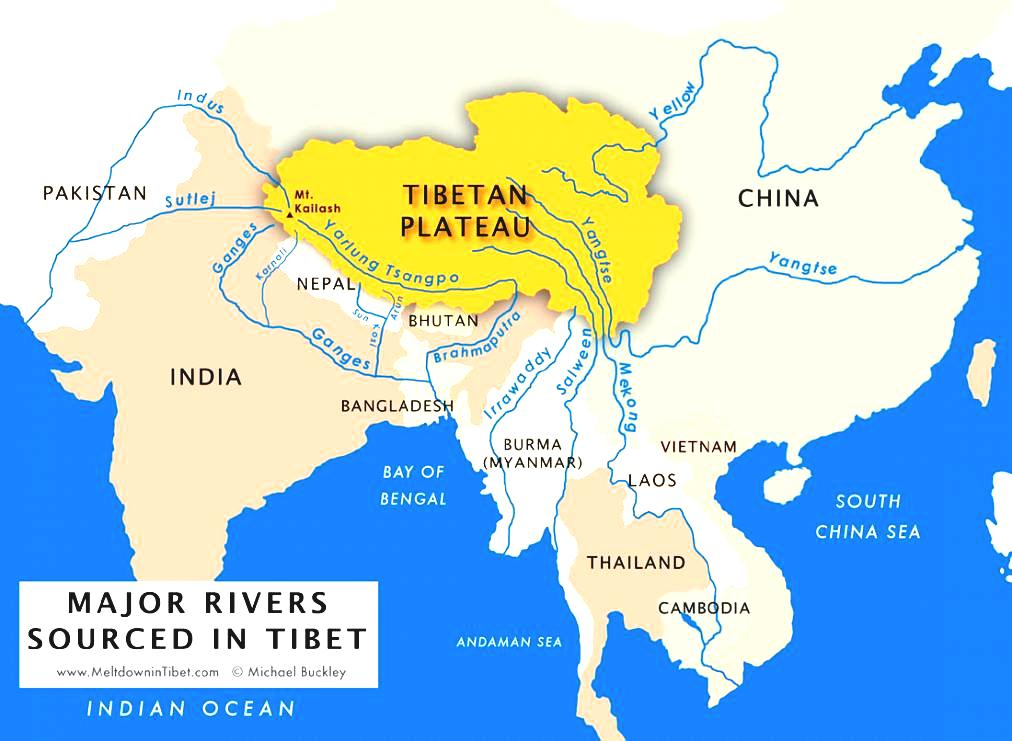 Plateau Of Tibet On Map Of Asia.Tibet Water Source For Asia Tibetan Magazine For Tibet News Issues